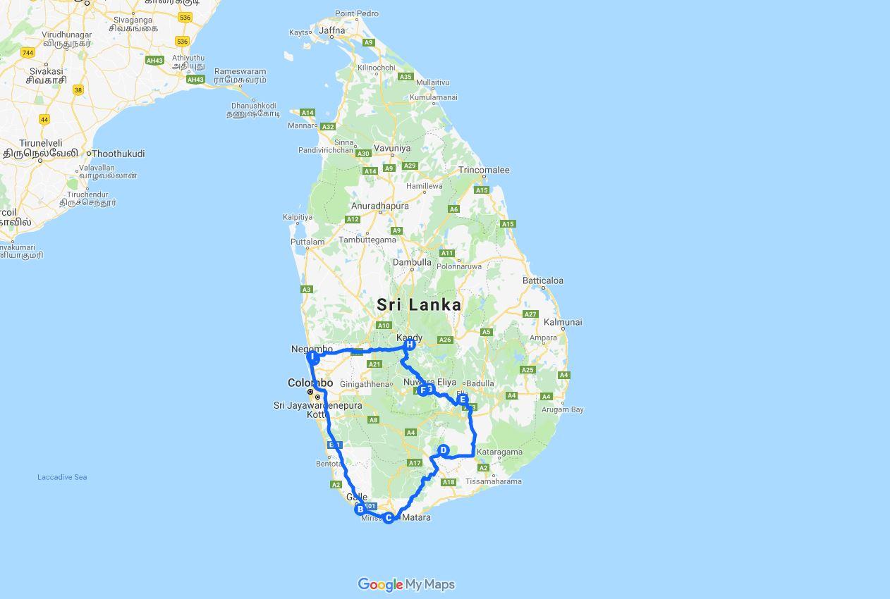 Hai Departe traseu Sri Lanka